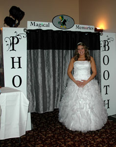 white booth and bride